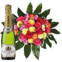 24 Mixed Roses Bouquet and Champagne