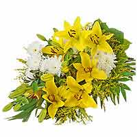 Sympathy Bouquet with Yellow Lilies