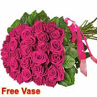 Bunch of 20 purple roses with Vase